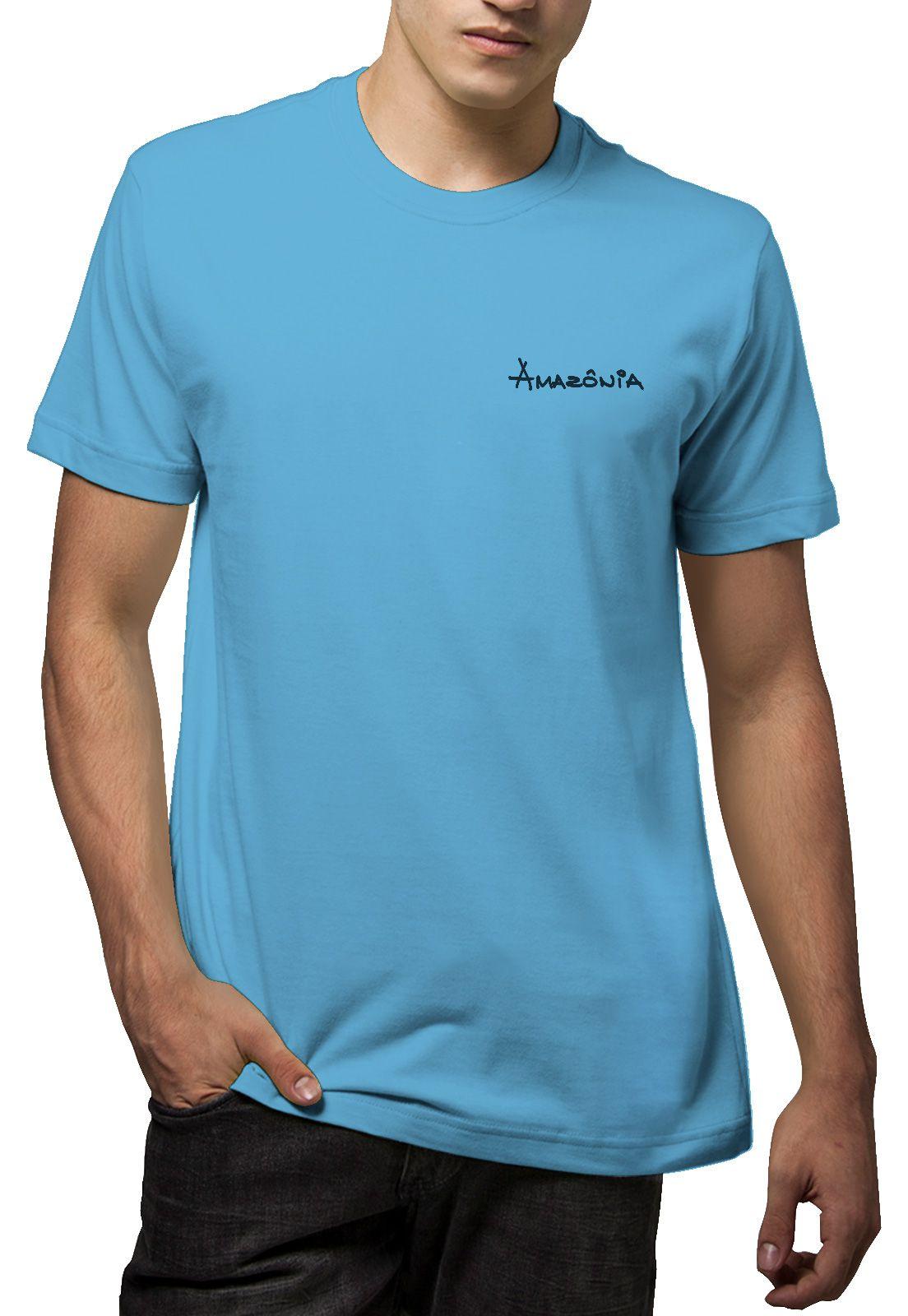 Camiseta Amazônia Folha Tribal - Azul