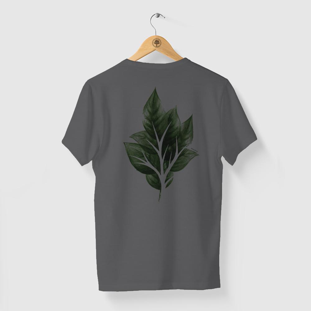 Camiseta Amazônia Folha Vazada - Mescla Escuro