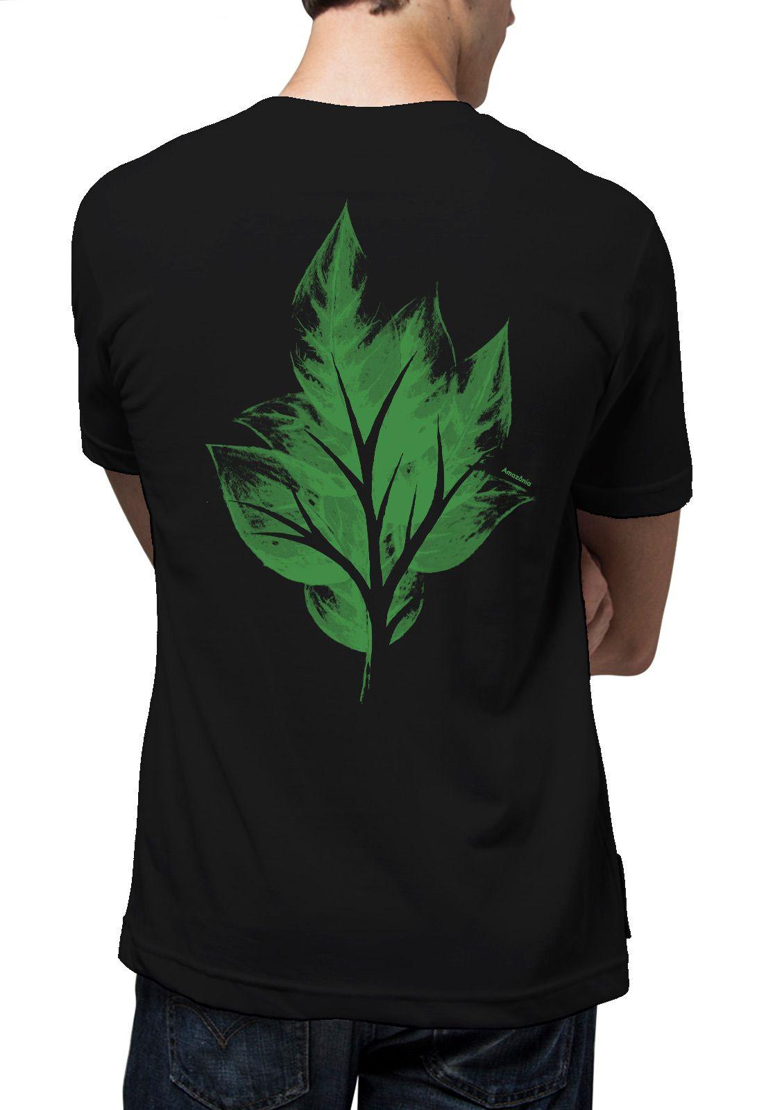 Camiseta Amazônia Folha Vazada - Preto