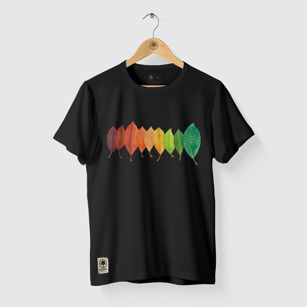 Camiseta Amazônia DEGRADÊ FOLHAS AMAZÔNIA - PRETO