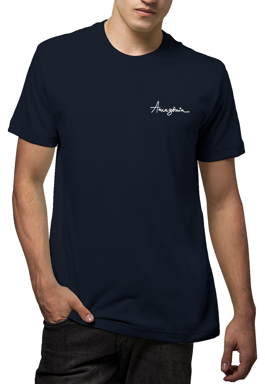 Camiseta Amazônia Folhas Riscadas - Azul Escuro