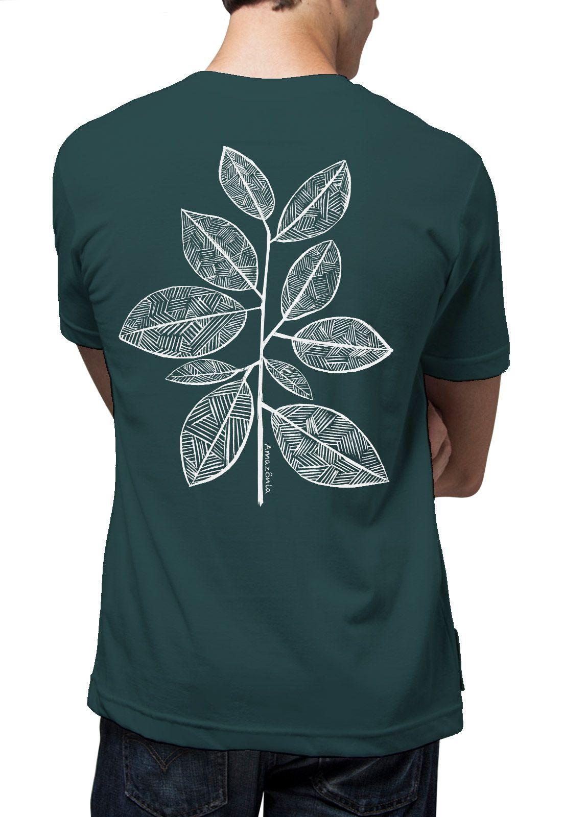 Camiseta Amazônia Folhas Riscadas - Verde