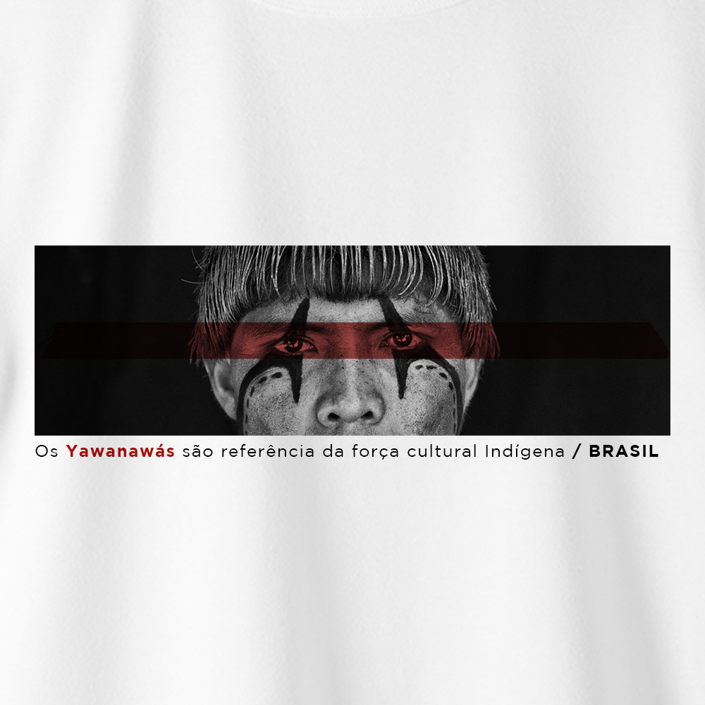 Camiseta Amazônia Força Indígena - Branco