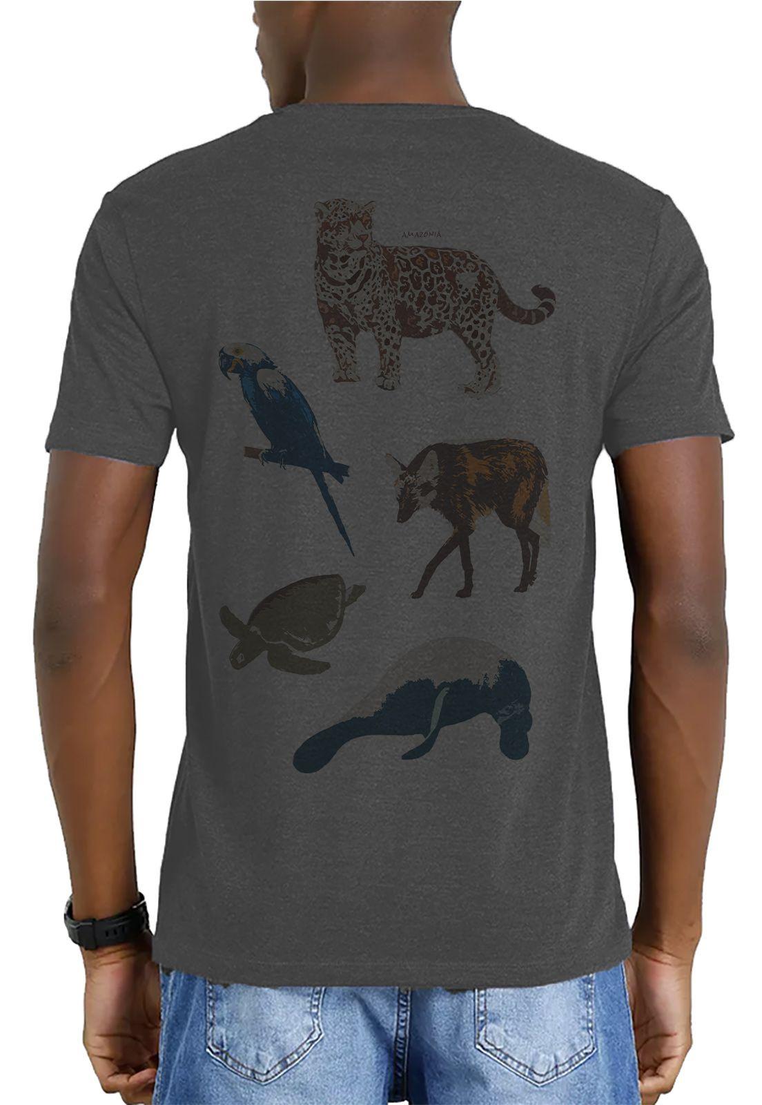 Camiseta Amazônia Garrafa Pet Animais Extinção - Preto