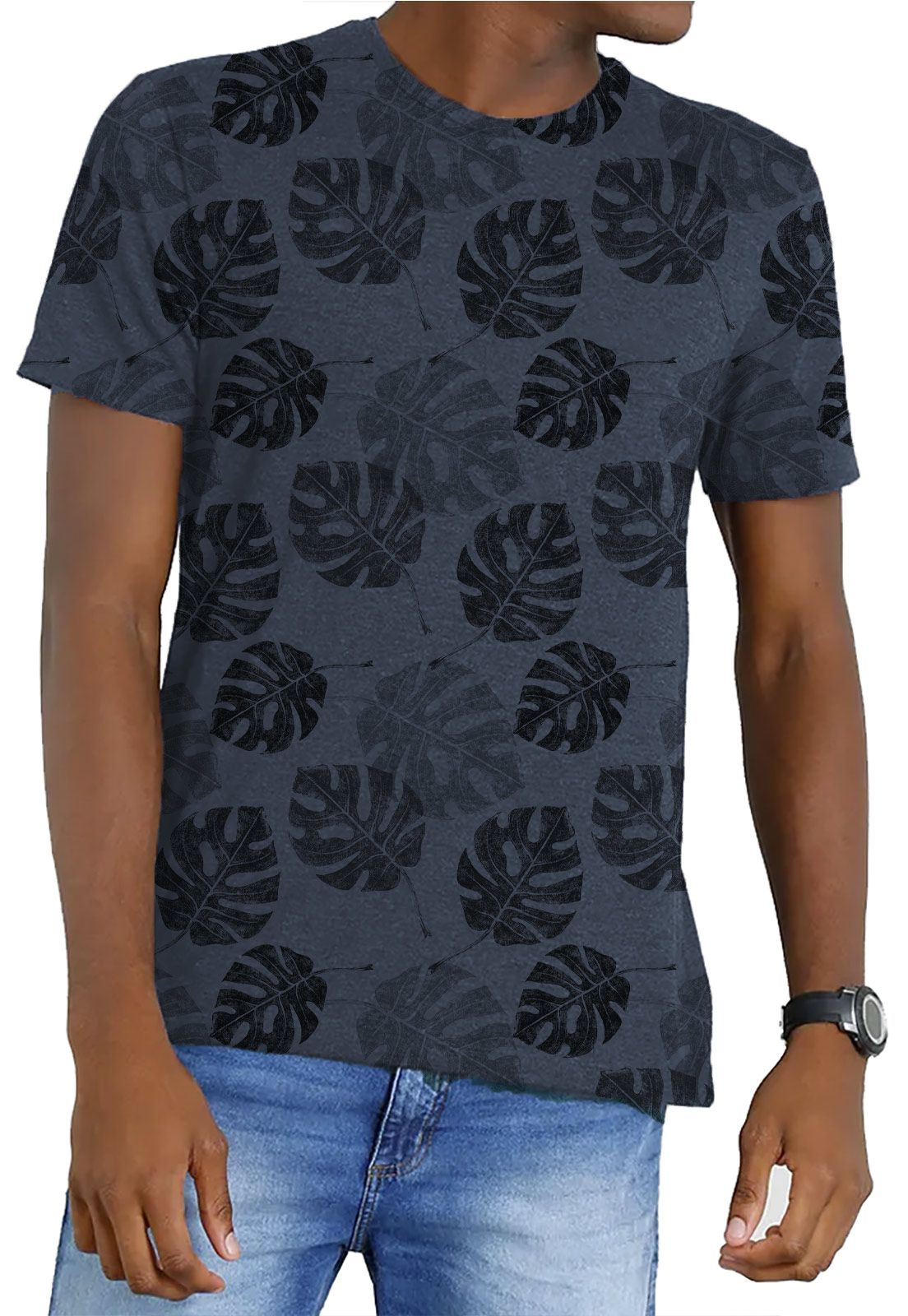 Camiseta Amazônia Garrafa Pet Corrido Costela de Adão - Azul Escuro