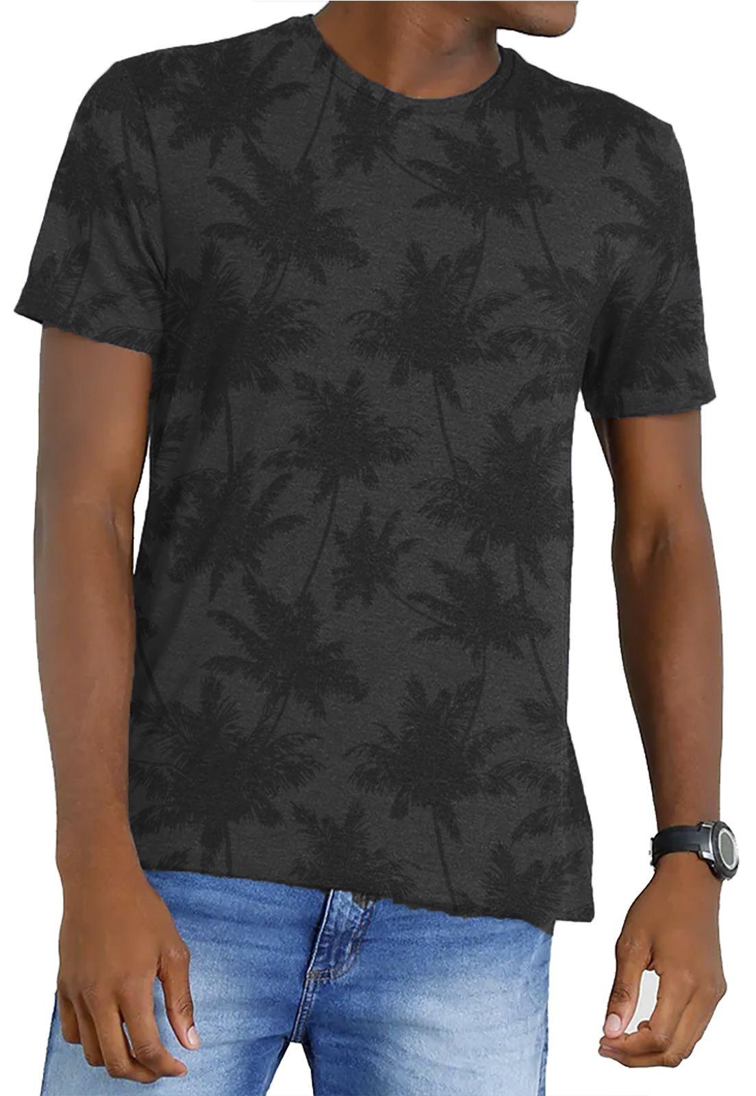 Camiseta Amazônia Garrafa Pet Corrido Coqueiros - Preto