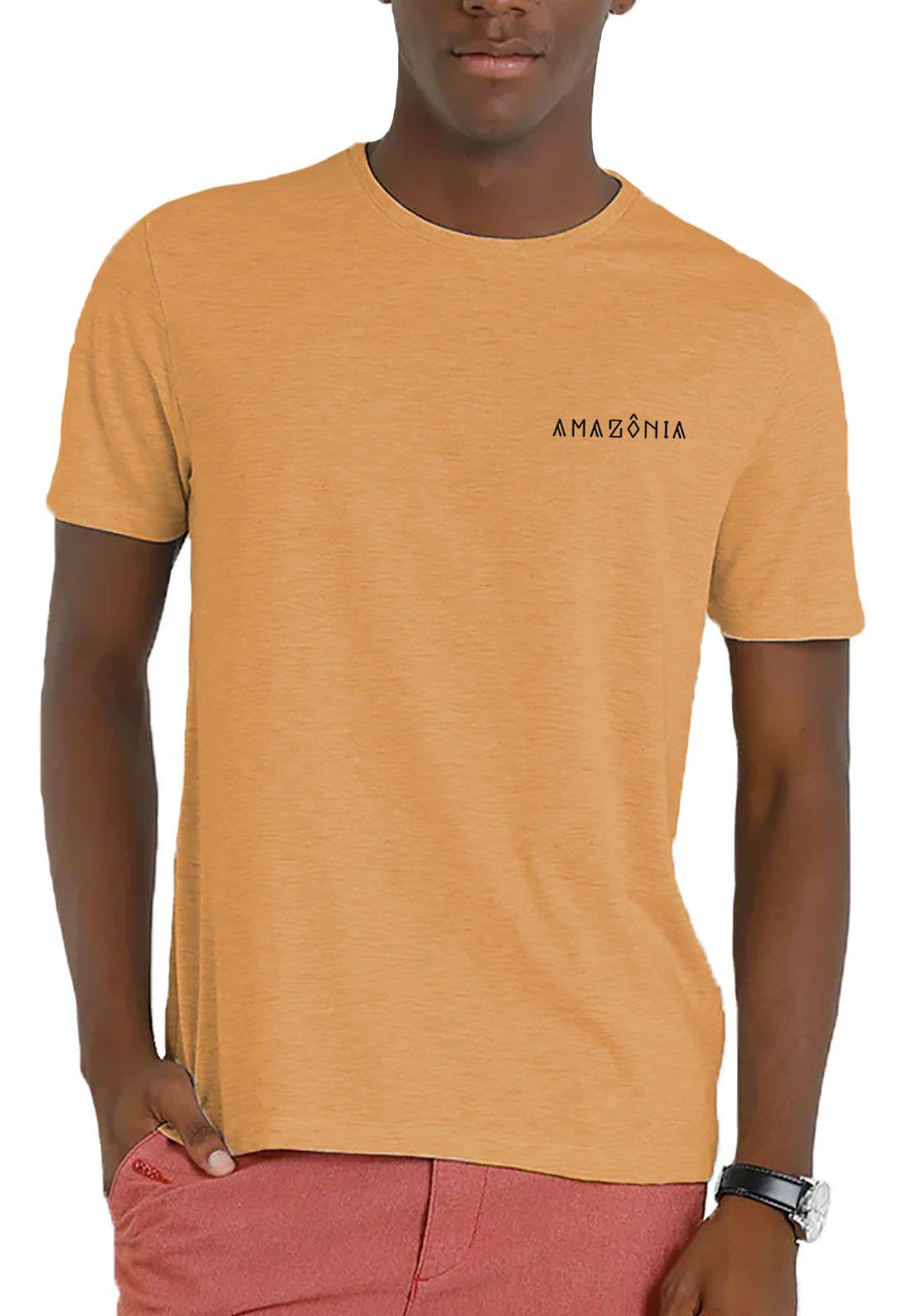 Camiseta Amazônia Garrafa Pet Fauna Mapa - Amarelo