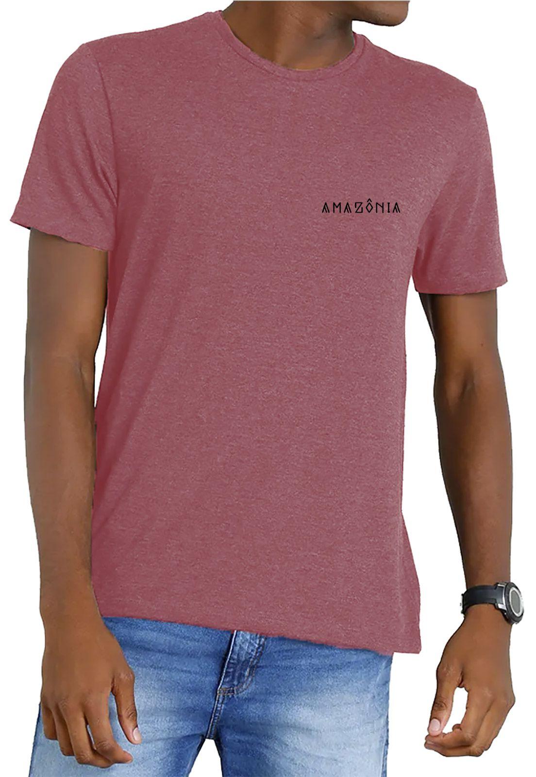 Camiseta Amazônia Garrafa Pet Kayapó Cocar - Vermelho