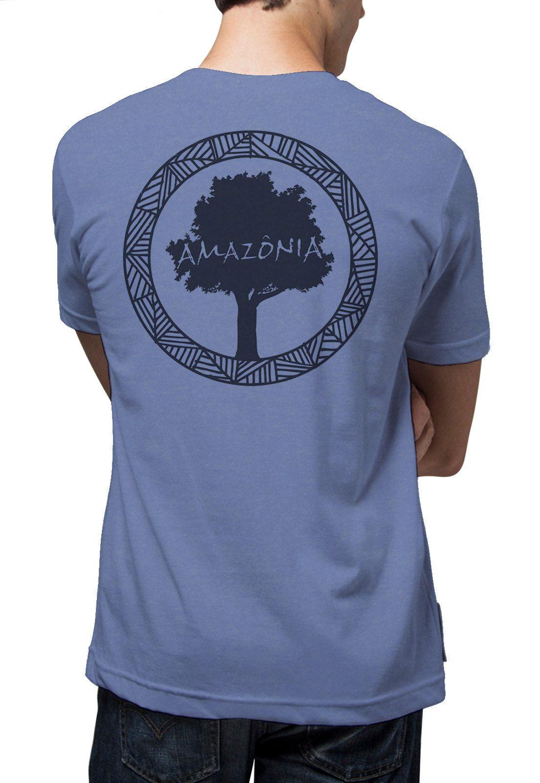 Camiseta Amazônia Garrafa Pet Logo Oficial - Azul