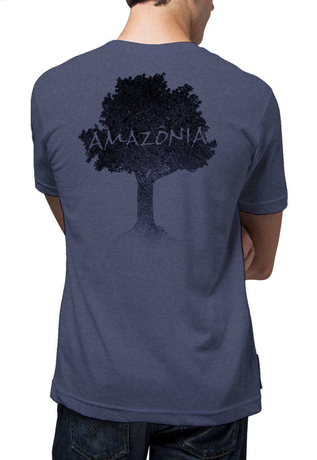 Camiseta Amazônia Garrafa Pet Logo Terra - Azul