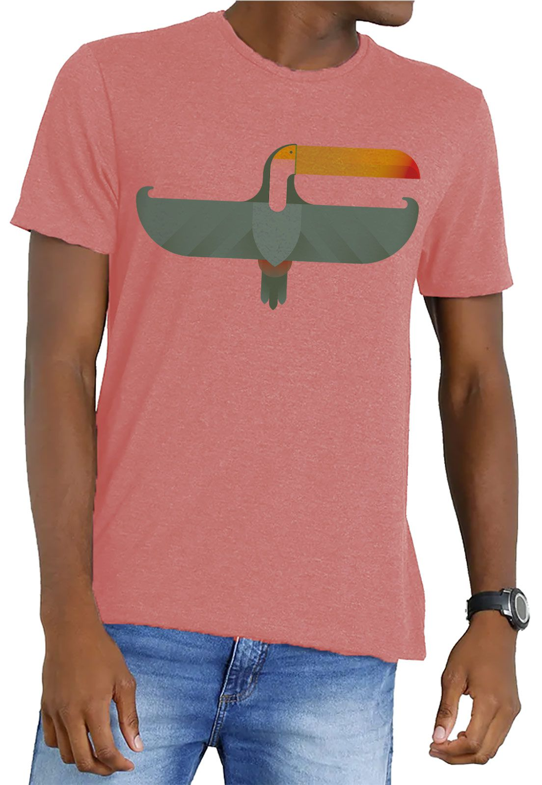 Camiseta Amazônia Garrafa Pet Tucano Asas Abertas - Salmão