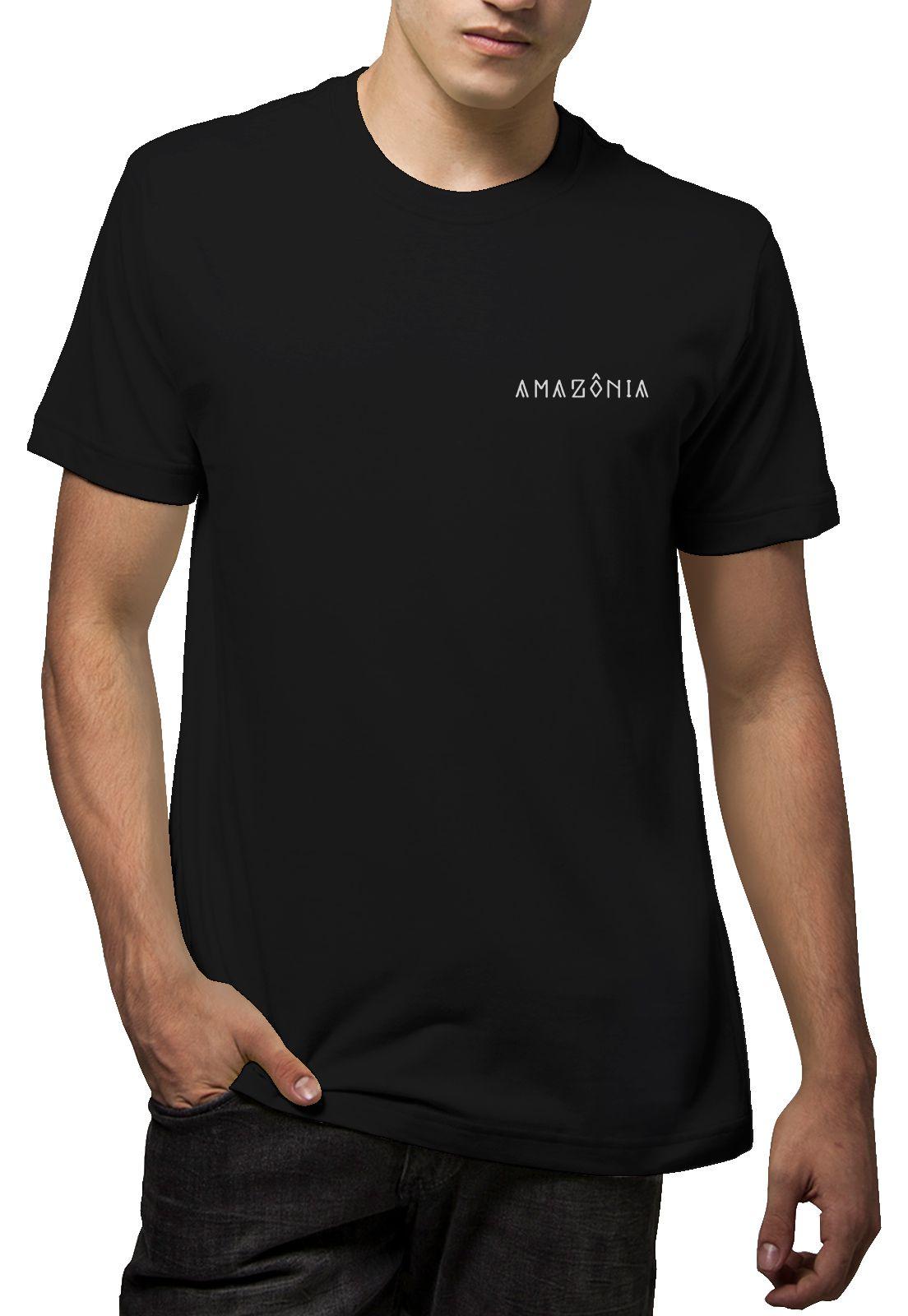 Camiseta Amazônia Gota Indígena - Preto