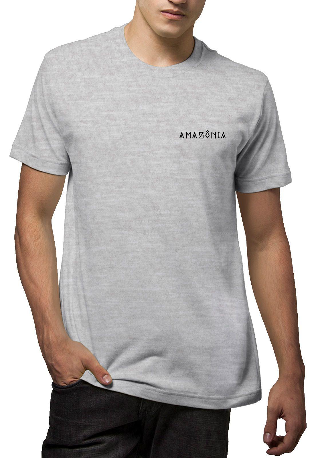 Camiseta Amazônia Guerreiro Indígena - Mescla