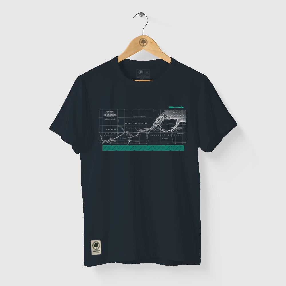 Camiseta Amazônia HIDROGRAFIA - AZUL