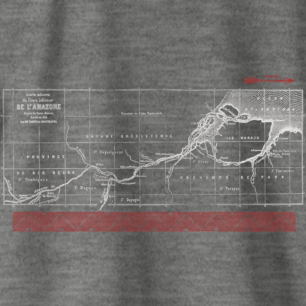 Camiseta Amazônia HIDROGRAFIA - MESCLA CINZA
