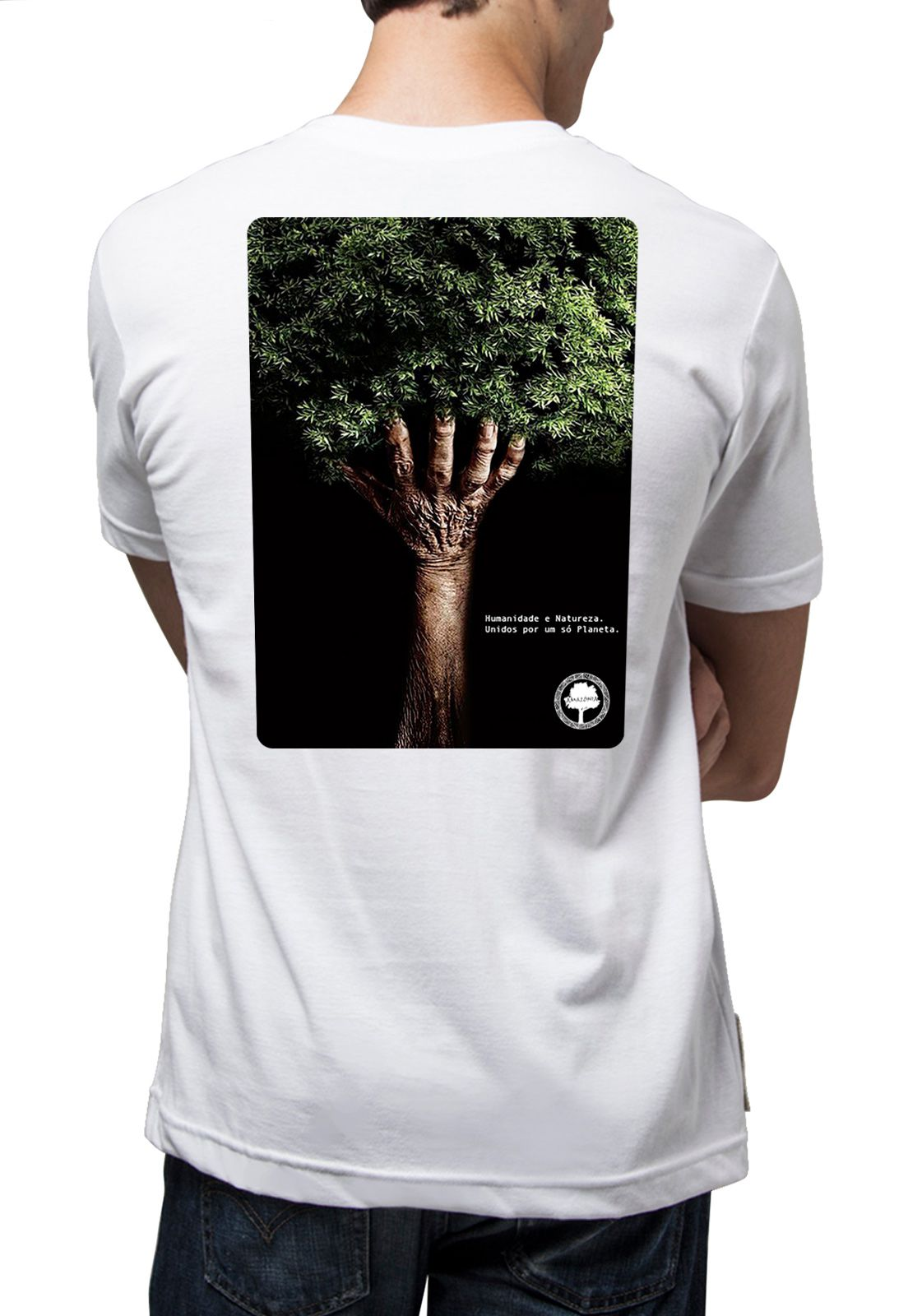 Camiseta Amazônia Humanidade + Natureza - Branco
