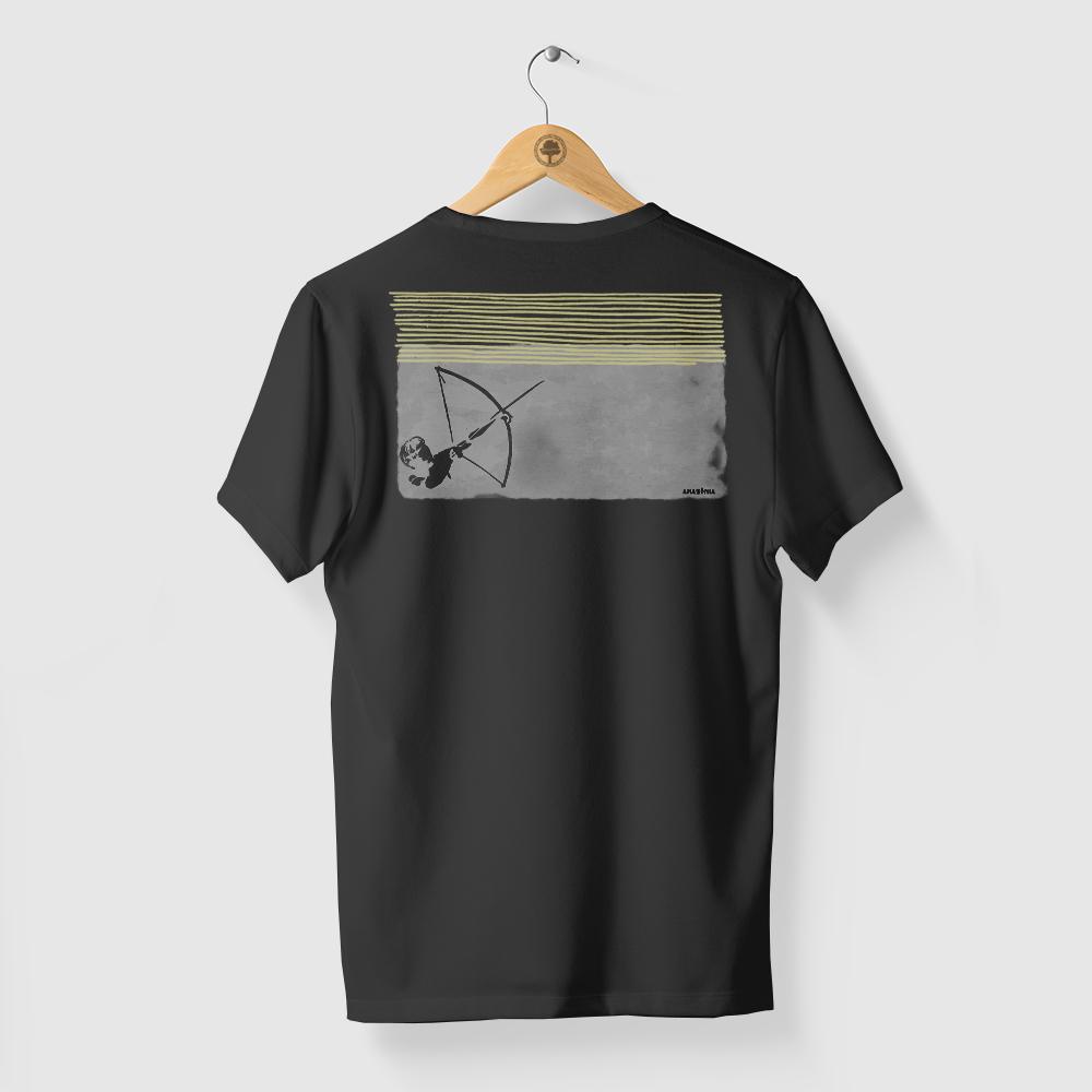 Camiseta Amazônia ÍNDIO ARCO E FLECHA - PRETO