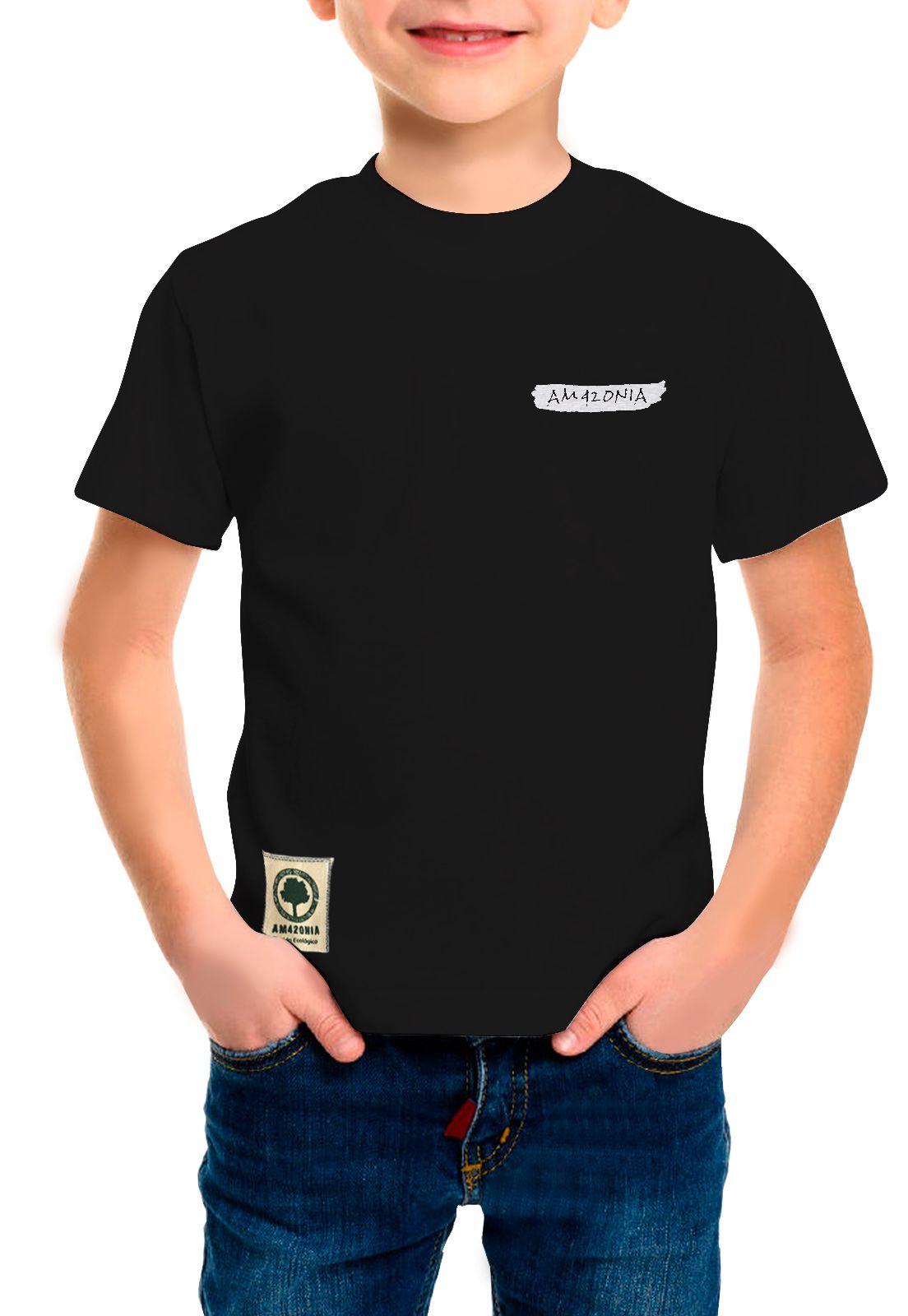 Camiseta Amazônia Infantil Penas - Preto
