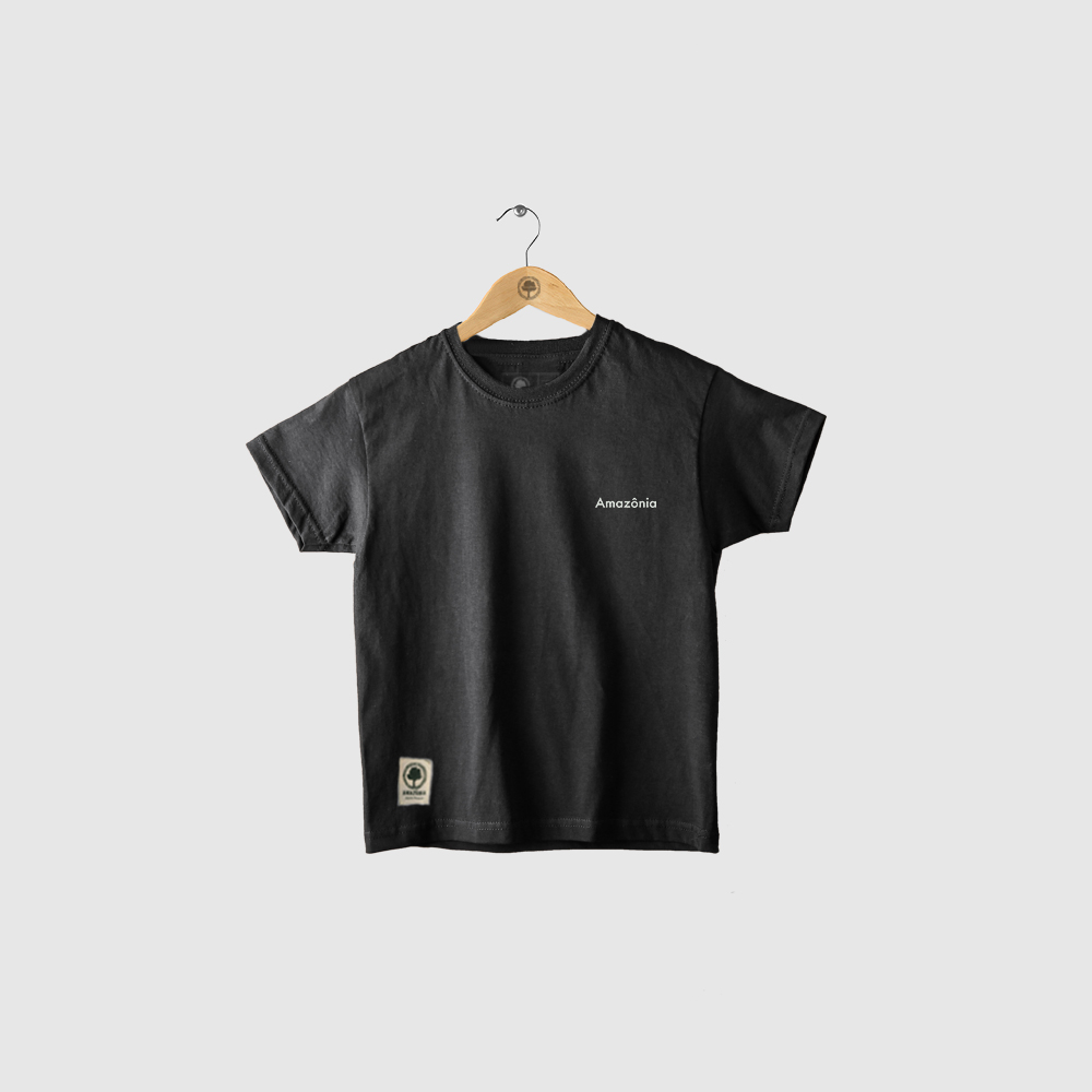 Camiseta Amazônia Infantil Tartaruga Maori - Preto