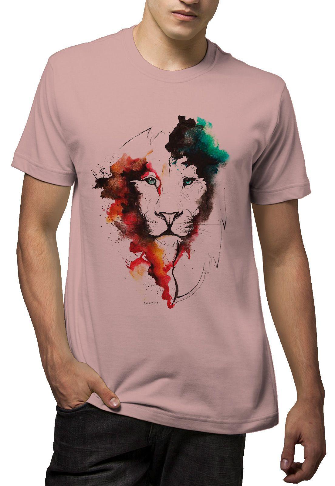 Camiseta Amazônia Leão Aquarela - Rosa Claro