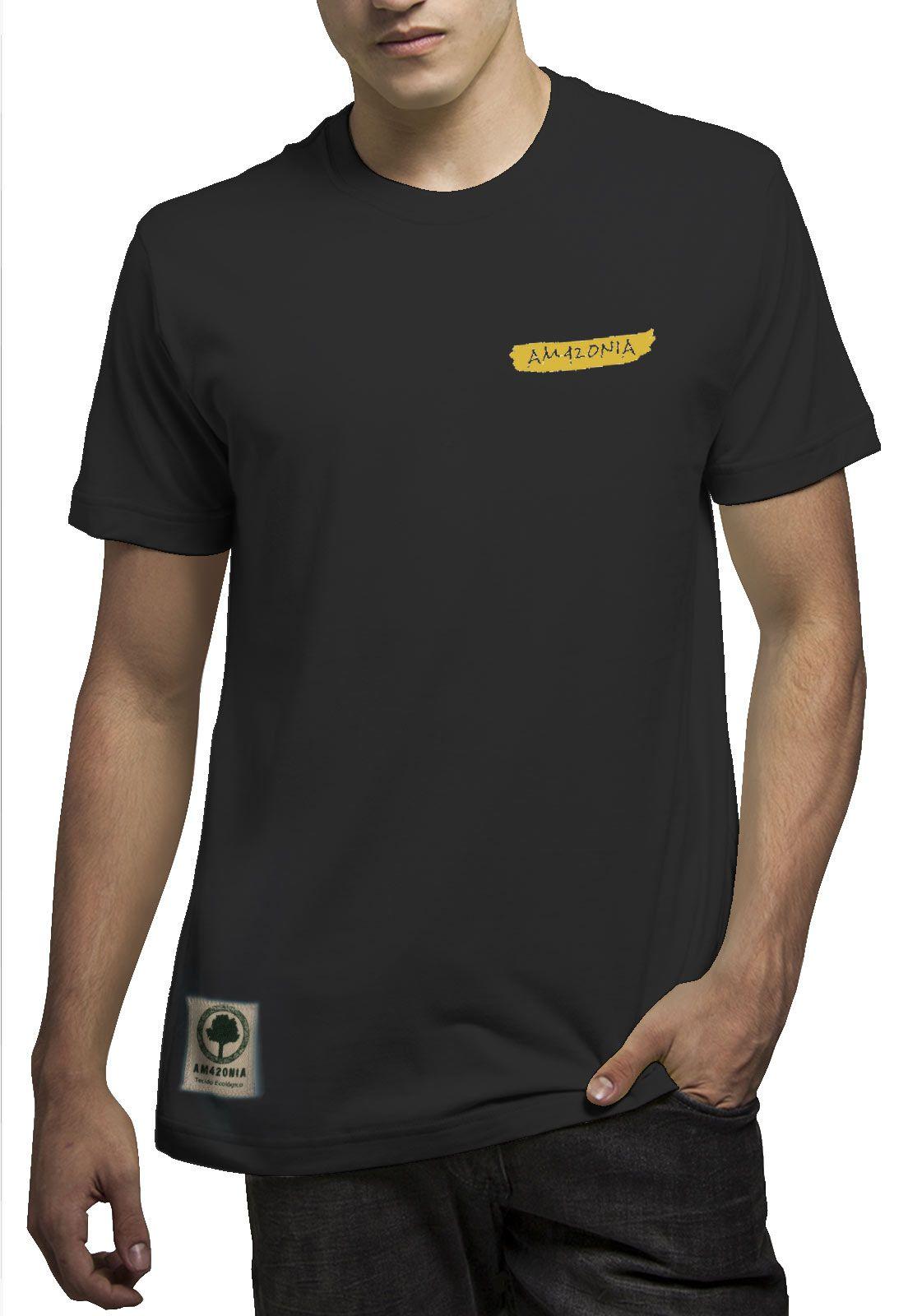 Camiseta Amazônia Leão Rasta - Preto