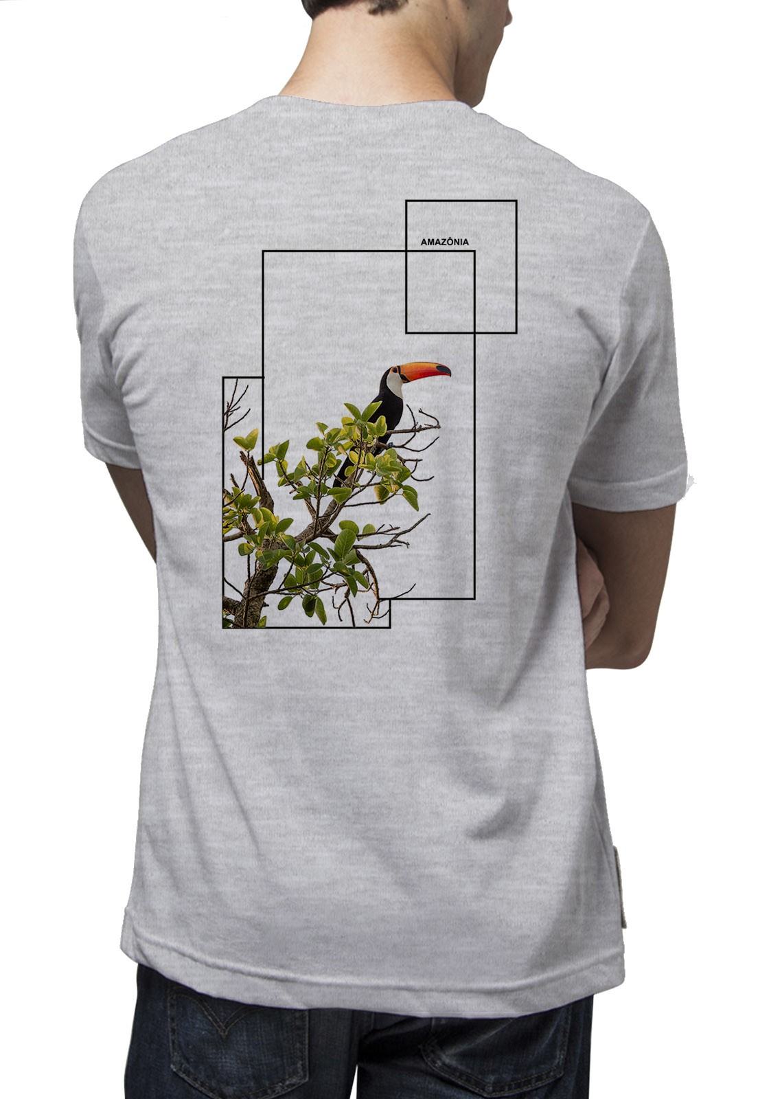 Camiseta Amazônia Lindo Tucano - Cinza Mescla