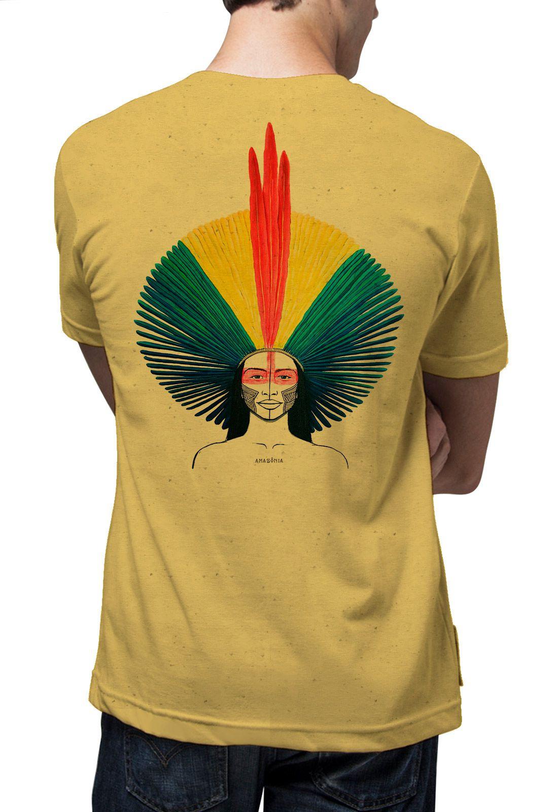 Camiseta Amazônia Linhotex Amazônia Cocar  - Amarelo