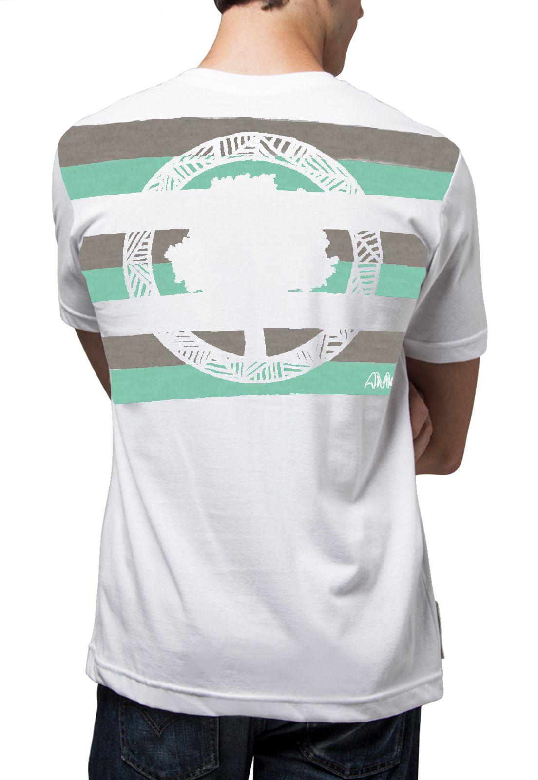 Camiseta Amazônia Listras Logo - Branco