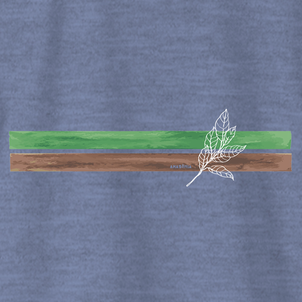 Camiseta Amazônia LISTRAS TERRA - MESCLA AZUL