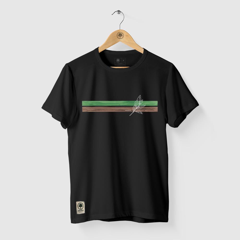 Camiseta Amazônia LISTRAS TERRA - PRETO