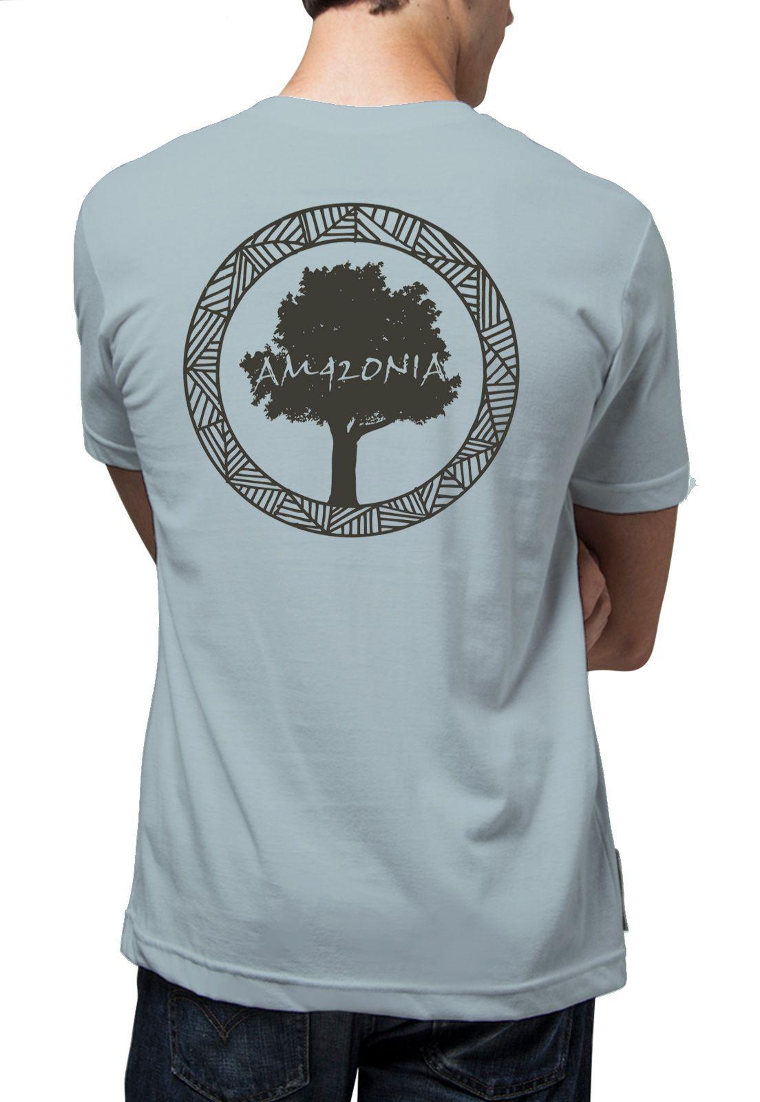 Camiseta Amazônia Logo Oficial - Cinza Claro