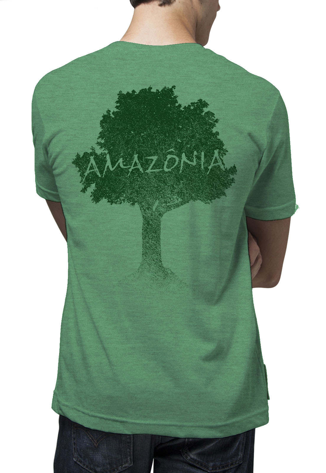 Camiseta Amazônia Logo Terra - Mescla Verde