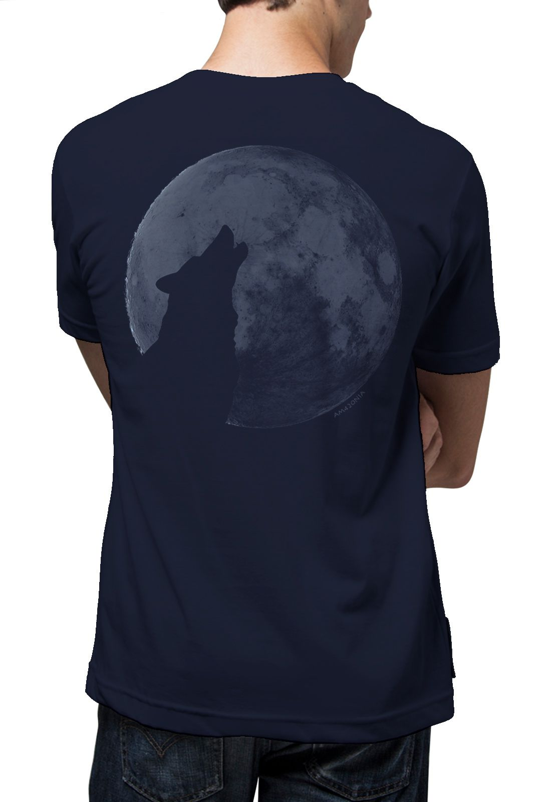 Camiseta Amazônia Lua Cheia - Azul Escuro