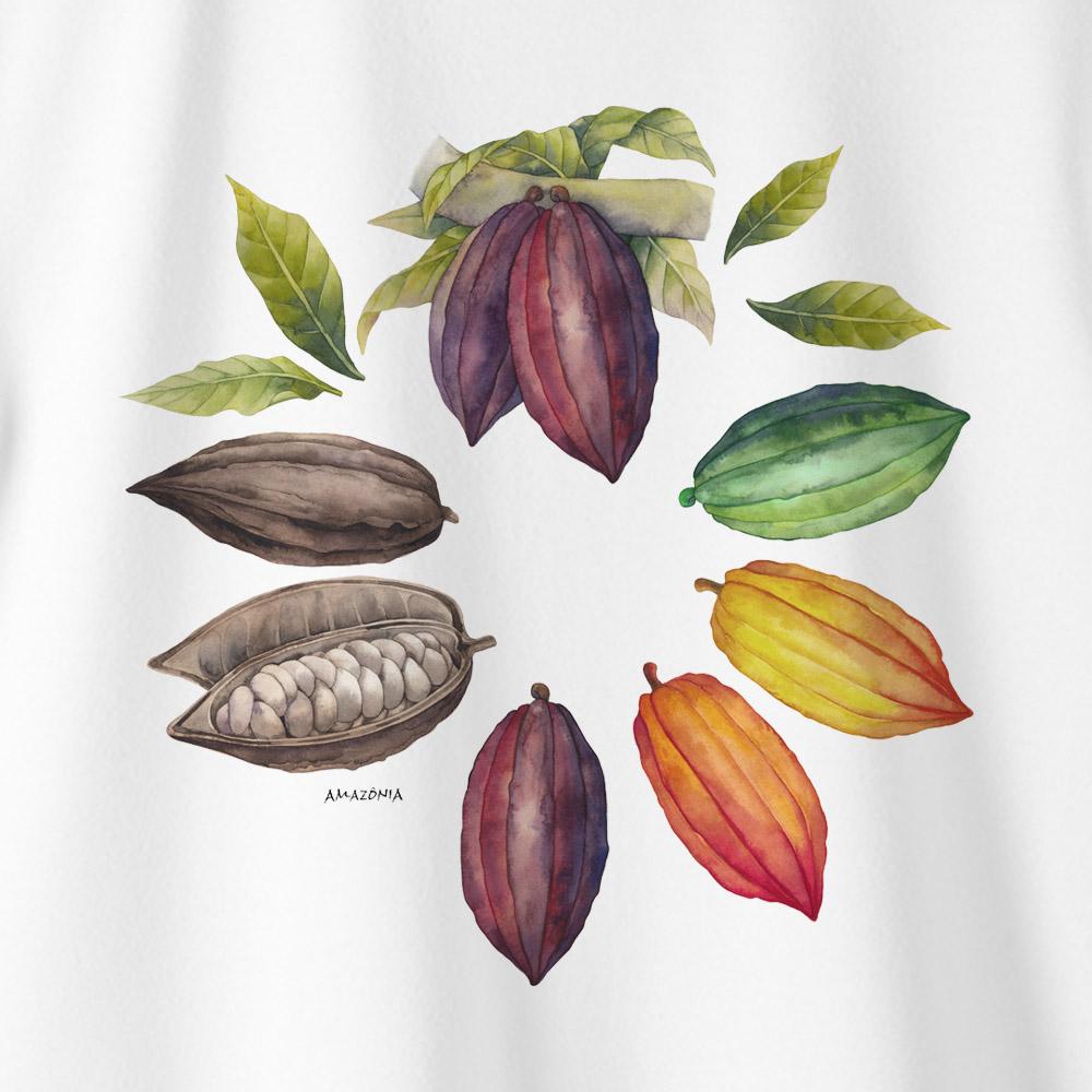 Camiseta Amazônia MANDALA CACAU - BRANCO