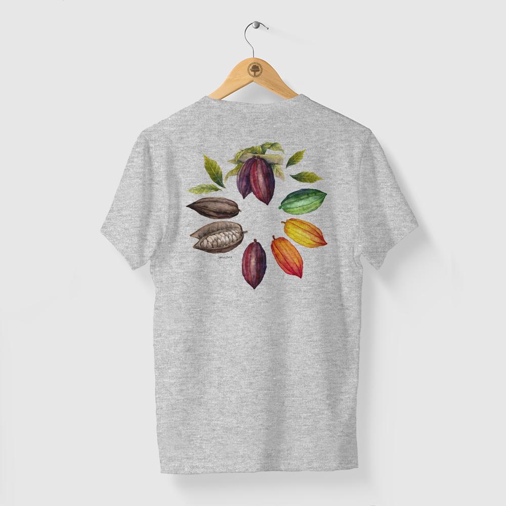 Camiseta Amazônia MANDALA CACAU - MESCLA CINZA