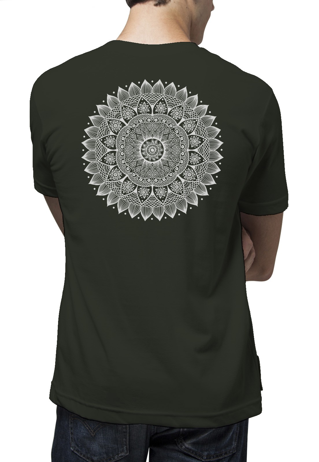 Camiseta Amazônia Mandala Girassol - Verde Escuro
