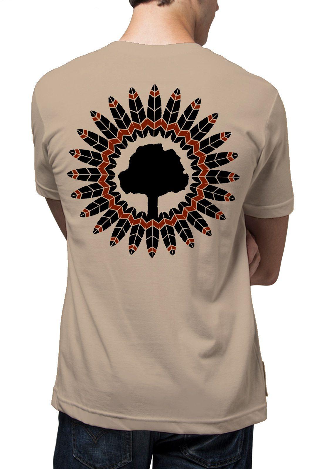 Camiseta Amazônia Mandala Indígena - Bege