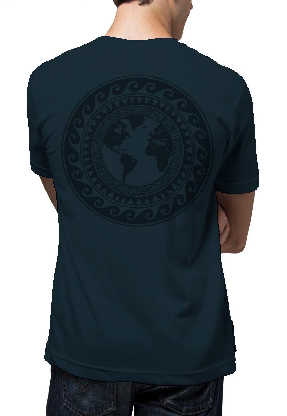 Camiseta Amazônia Mandala Mundo - Azul Escuro