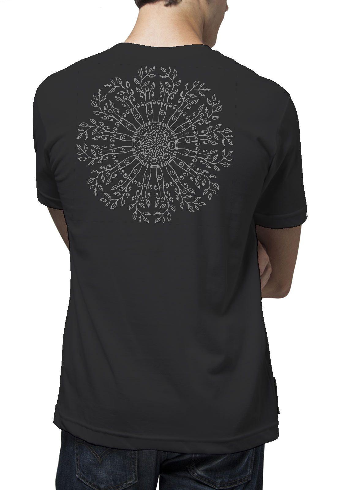 Camiseta Amazônia Mandala Planta - Preto
