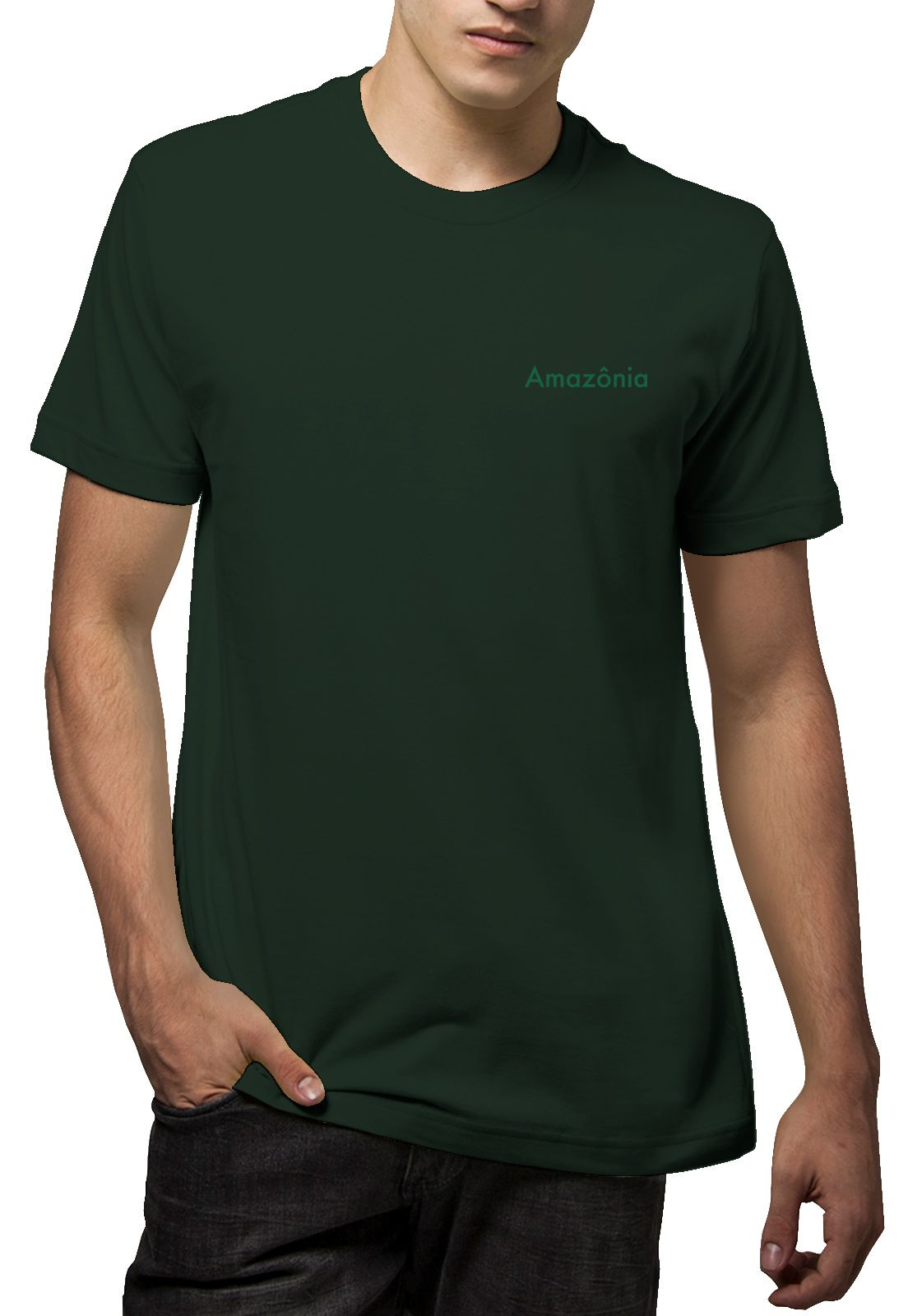 Camiseta Amazônia Mandala Planta - Verde Escuro