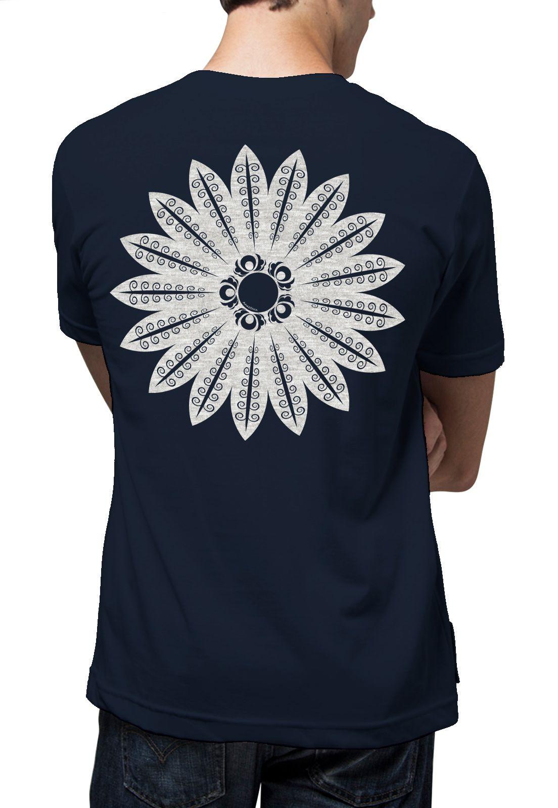 Camiseta Amazônia Mandala Xingu - Azul Escuro