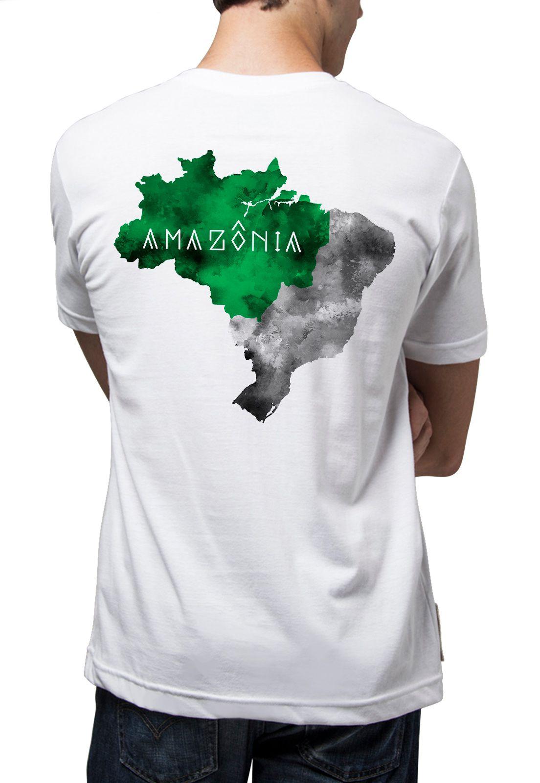 Camiseta Amazônia Mapa Amazônia - Branco
