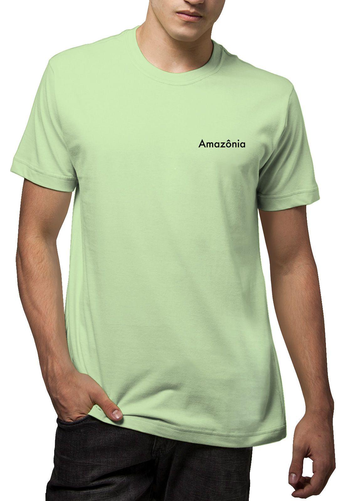 Camiseta Amazônia Meditando Folhas - Verde Claro