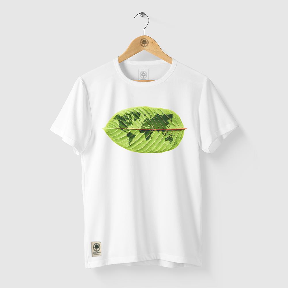 Camiseta Amazônia Mundo Folha - Branco