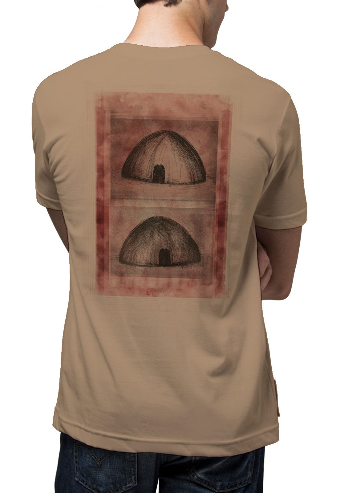 Camiseta Amazônia Oca Indígena - Caqui