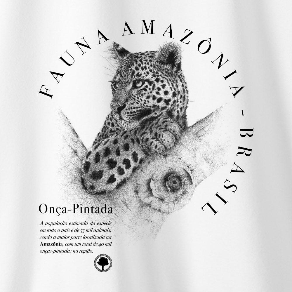 Camiseta Amazônia Onça Verdadeira - Branco