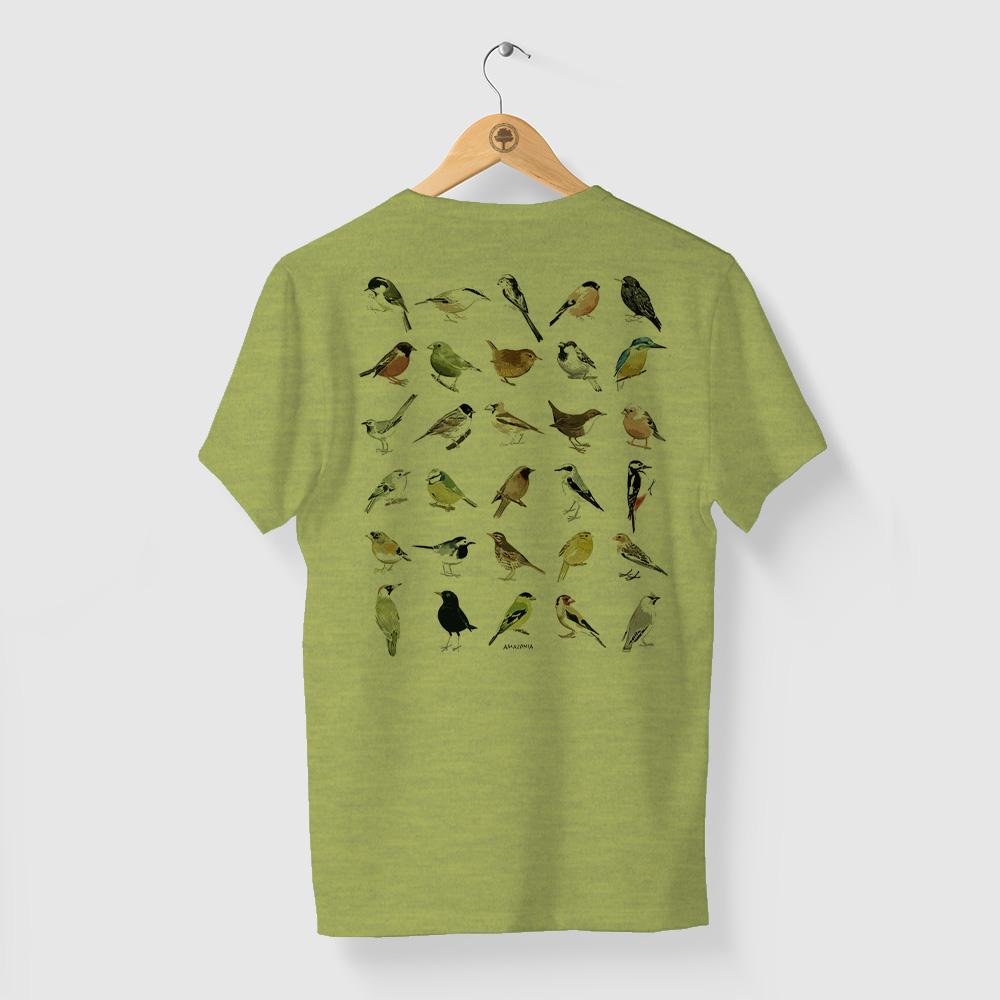 Camiseta Amazônia Ornitologia - Mescla Amarelo