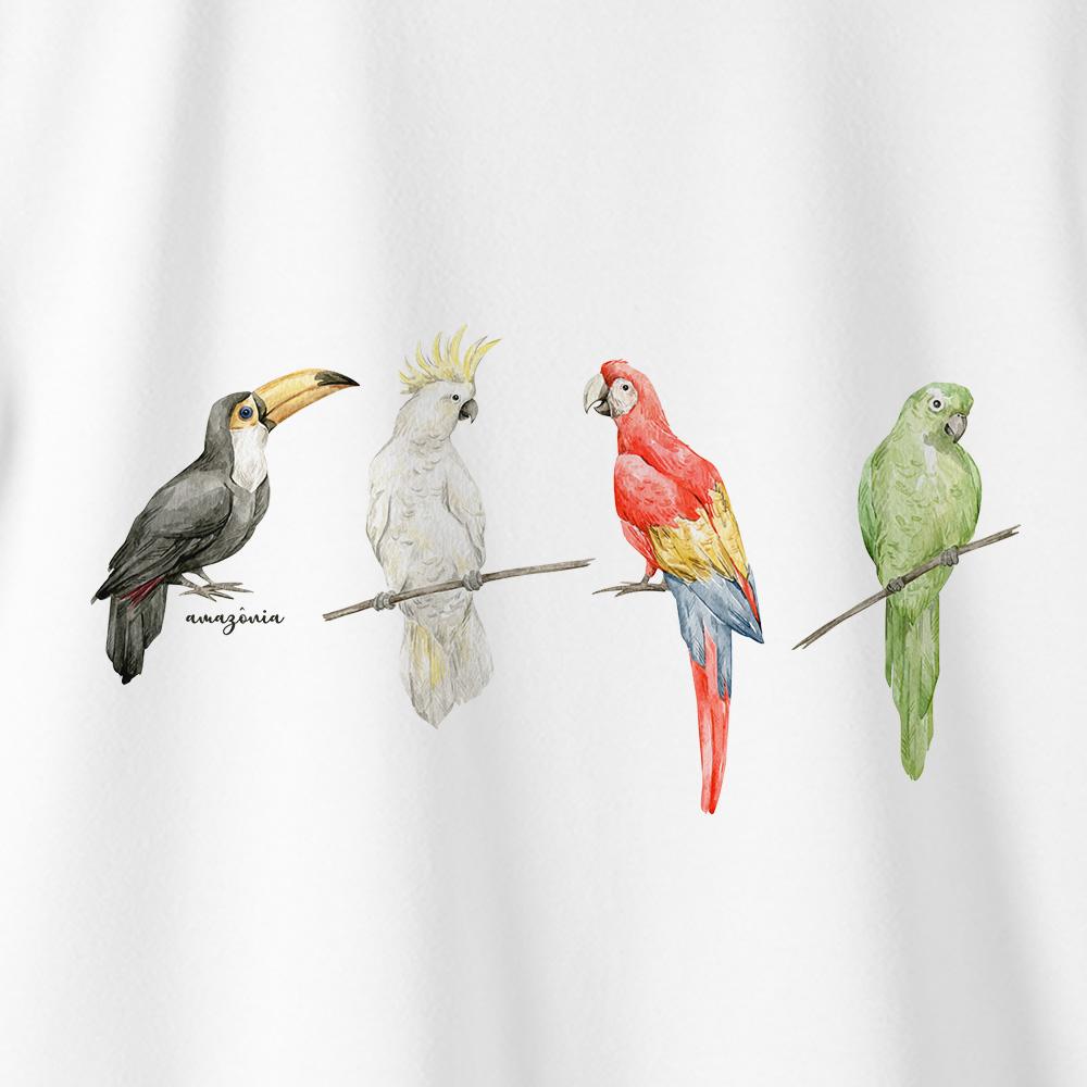 Camiseta Amazônia PÁSSAROS CORES - BRANCO