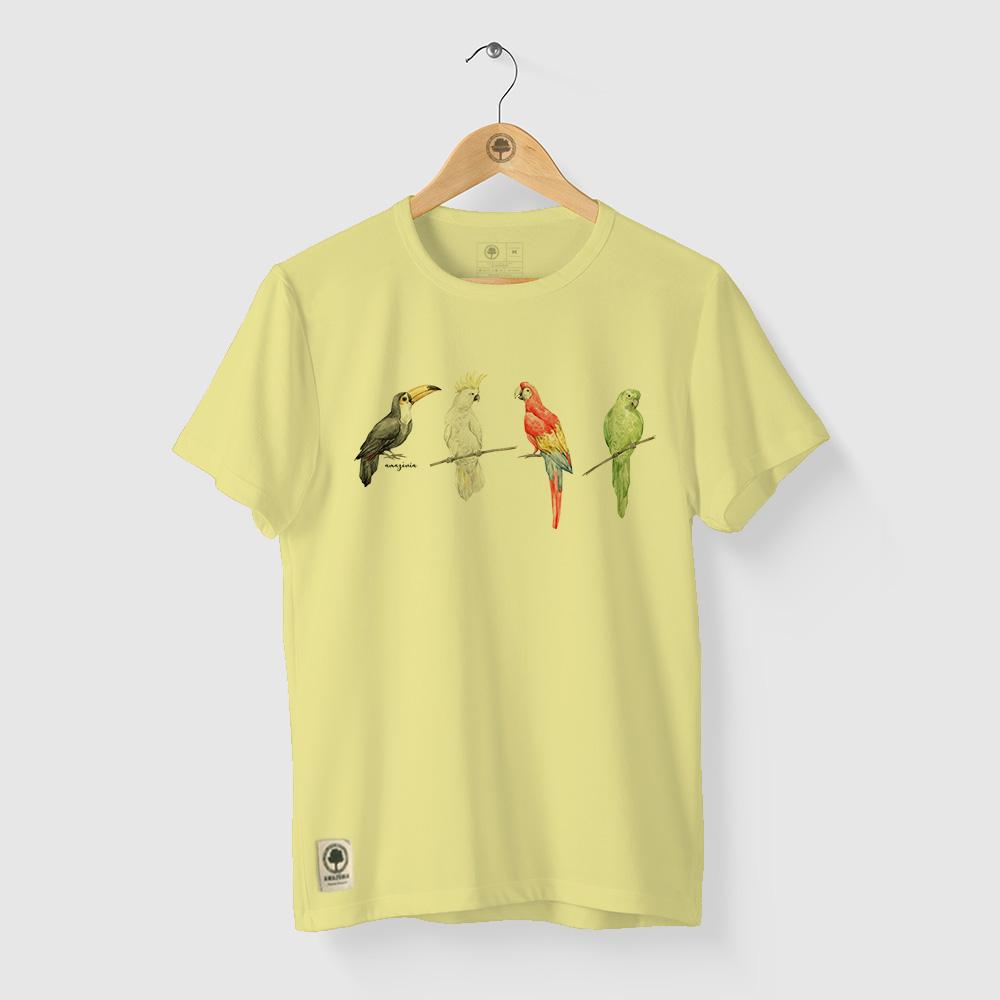 Camiseta Amazônia PÁSSAROS CORES - MESCLA AMARELO