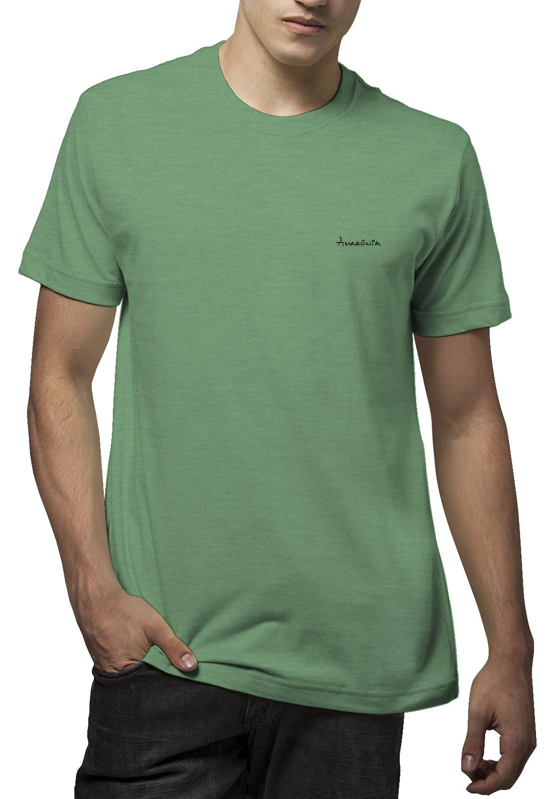 Camiseta Amazônia Paz e Natureza - Mescla Verde